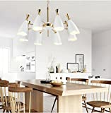 Industrial Guest Restaurant Coffee House Pendant Lights Chandelier Hotel Lobby Clubhouse Shopping Mall Decorative Lamp,White 8 Head 900500Mm
