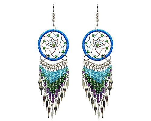 Large Dream Catcher Long Beaded Dangle Earrings (Turquoise/Green/Purple)