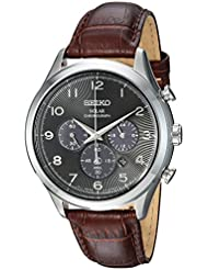 Seiko Mens Solar Chronograph Quartz Stainless Steel and Leather Casual Watch, Color:Brown (Model: SSC565)