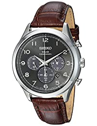 Seiko Men's 'Solar Chronograph' Quartz Stainless Steel and Leather Casual Watch, Color:Brown (Model: SSC565)