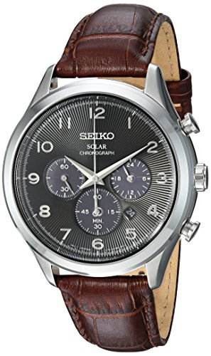 Seiko-Mens-Solar-Chronograph-Quartz-Stainless-Steel-and-Leather-Casual-Watch-ColorBrown-Model-SSC565