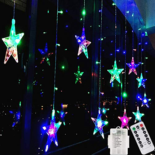 (Star Curtain String Lights,138 LED Fairy Star Window Lights Battery Operated Linkable Window Icicle Decor Lighting 8 Modes with Remote Control for Home Christmas Halloween Wedding Party (Multicolor))