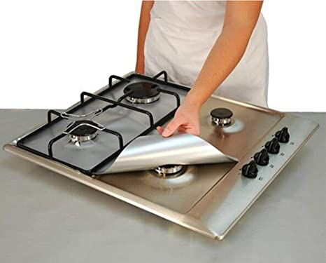 Amazon.com: Wffo 2PCS Universal Stove Burner Covers Protector Sheets Oven Liner Reusable (Silver): Kitchen & Dining