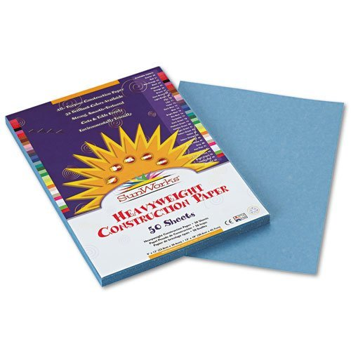 SunWorks Products - SunWorks - Construction Paper, 58 lbs., 9 x 12, Sky Blue, 50 Sheets/Pack - Sold As 1 Pack - Brightly-colored, high-strength, heavyweight construction paper with long, strong fibers that cut clean and fold evenly without cracking. - All