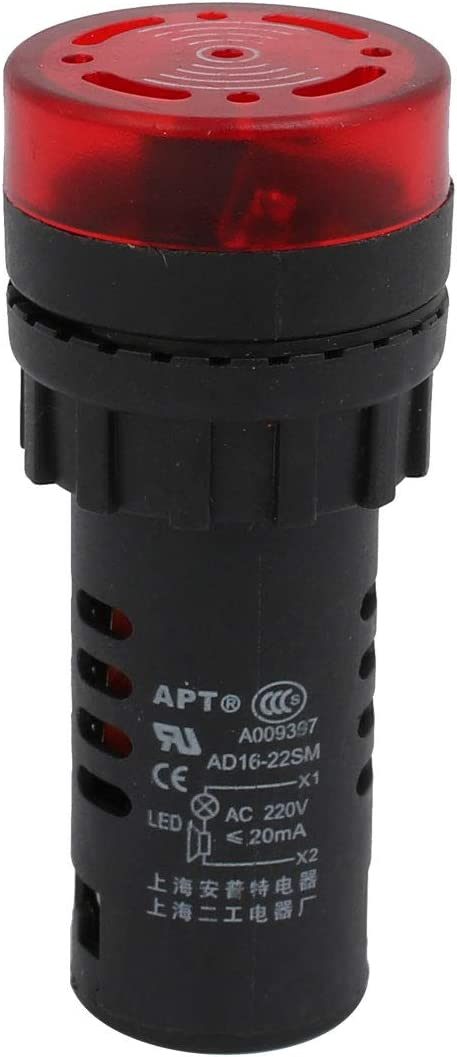 sourcing map AD16-22SM AC 220V LED lumi/ère flash buzzer rouge Indicateur Bip actif