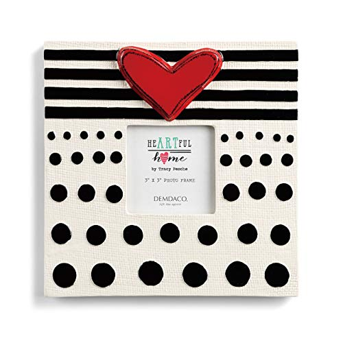 Black Ceramic Frame - DEMDACO Stripes and Dots Black and White 8 x 8 Ceramic Stoneware Wall and Tabletop Frame