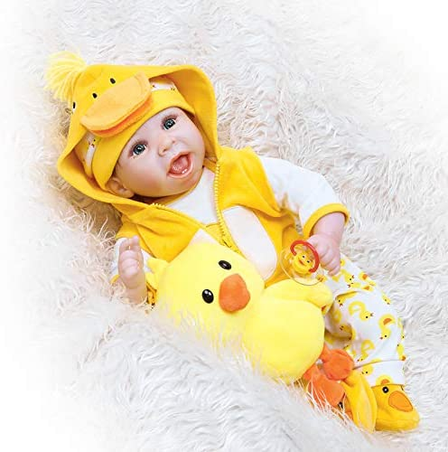 TATU Reborn Baby Dolls Clothes Boy/&Girl 22 Inch Yellow Duck Outfit 5 Pcs Set for 20-23 inch Reborn Dolls Clothes Clothing Cute Overalls