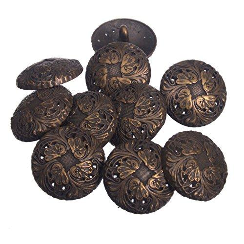Zinc Diecasted Metal Shank Button - Renaissance Floral Pattern - 30 Line - Antique Brass