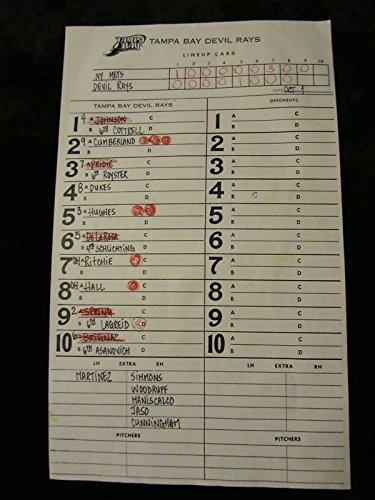 BASEBALL LINEUP CARD TAMPA BAY DEVIL RAYS VS. N.Y. METS BRIGNAC JASO