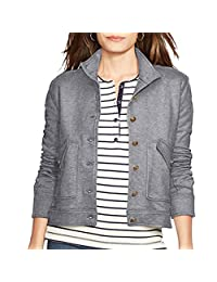 Lauren Jeans Co. Nautical French Terry Button-Front Jacket (Black/Indigo, X-Large)