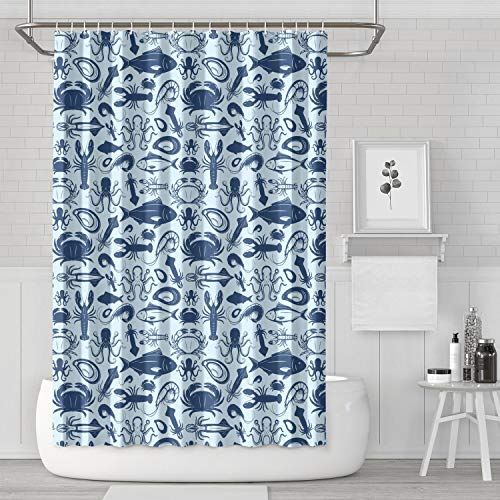 Lobster Seafood Seamless Pattern Stock Vector. Hook Bath Curtain Classic Durable for Bathroom,Printing Bath Curtains]()