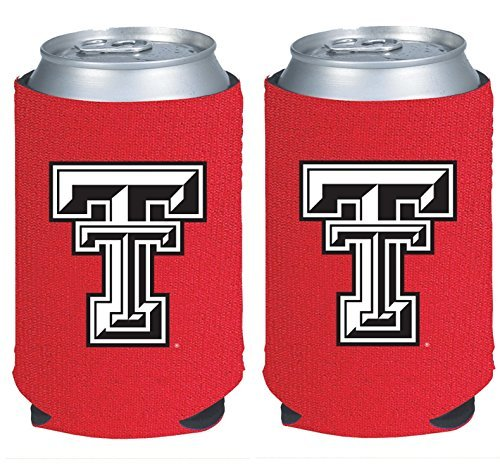 (NCAA College 2014 Team Logo Color Can Kaddy Holder Cooler 2-Pack (Texas Tech Red Raiders))