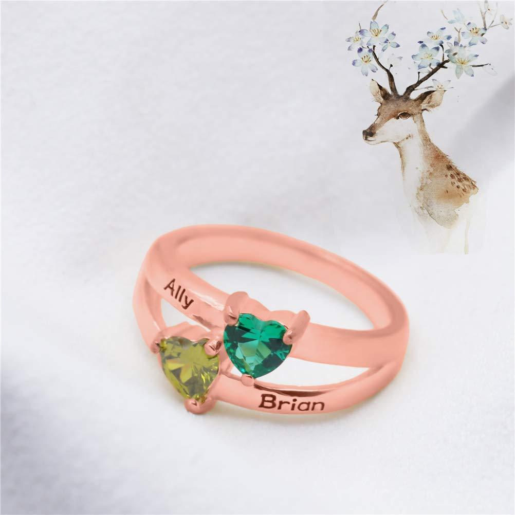 Yandam Silver Custom Ring Custom Heart Shape Birthstone Name Ring