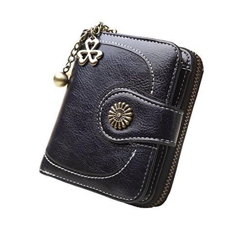 Zlover portafolios de Cera, con Cierre de Cierre, Gran Capacidad, para Mujer, Black.1, M