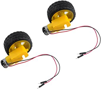 2 Sets TT DC Gearbox Motor 3-6V Gear Motor with Tire Wheel for Arduino Smart Car Robot