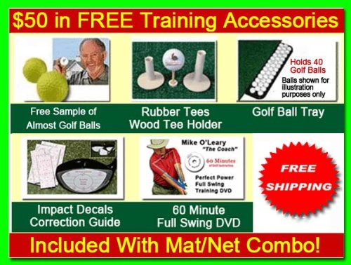 Golf Mat Golf Net Combo 9' x 15' High Velocity Impact Panel Plus a 5' x 5' Octagon Commercial Golf Mat; Free Ball Tray/Balls/Tees/60 Min. Full Swing Training DVD/Impact Decals and Correction Guide With Every Order! Everything You Need In One Package b