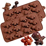 PERNY Dinosaur Molds - Dinosaur Silicone Mold for Making Crayon, Chocolate, Cake, Candy Etc, 2 Pack