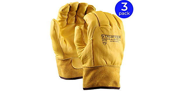 Pack of 3 ANSI Cut Level A2 Gold Color Select Grade 40 Cal//cm2 ATPV Rating Stauffer Premium Leather Welding Glove with Kevlar Liner Large