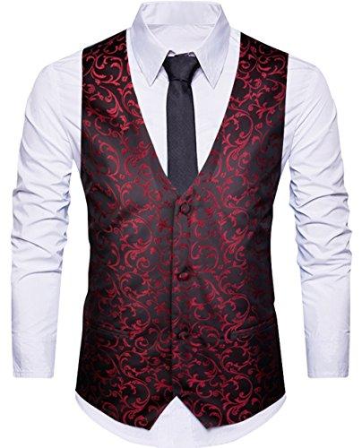 WANNEW Mens Suit Vest Business Dress Waistcoat Vests Paisley Vest for Suit or Tuxedo (Burgundy, XL)