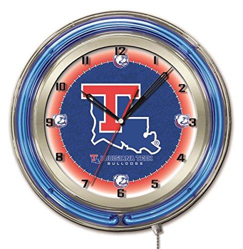 Louisiana Tech Bulldogs HBS Neon Blue College Battery Powered Wall Clock - Tech Clock Neon