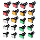 MonkeyJack Push Button Switch, 20Pack LED Illuminated Square Shape Momentary Self-Reset Push Button Electric Circuit Switch AC 250V 3A