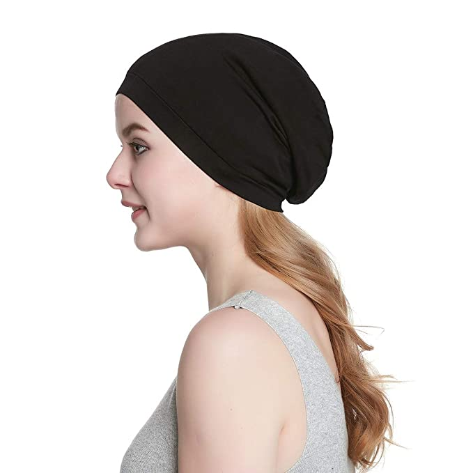 021721af32a Alnorm Cozy Satin Lined Slouchy Beanie Cap with Soft Elastic Band for Men    Women  Amazon.co.uk  Clothing