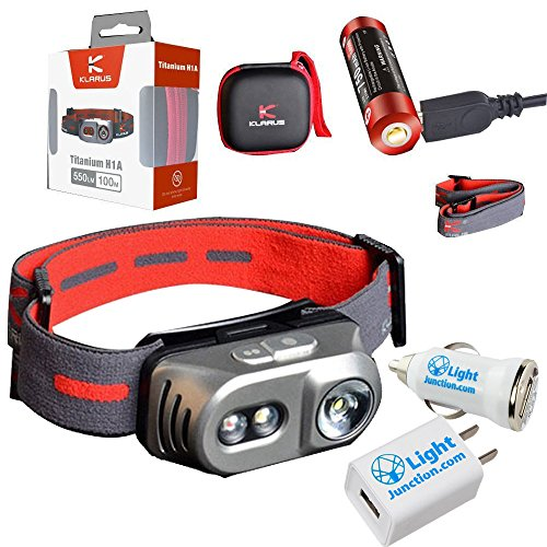 Klarus H1A Rechargeable Headlamp (Titanium) - 550Lm - Battery Included (Klarus 14500) PLUS USB Wall and Car Adapters ()
