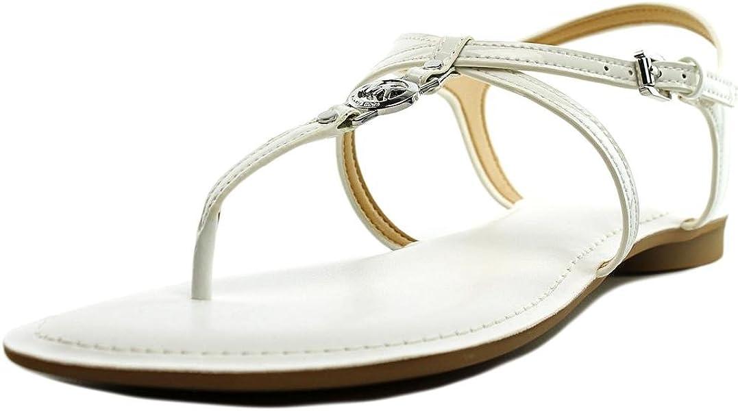 7fb3132730c1 Michael Kors Bethany Sandal Optic White Patent Leather Flat Shoe