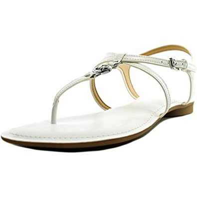 b20757bfd2 Amazon.com | Michael Kors Bethany Sandal Optic White Patent Leather Flat  Shoe | Sandals