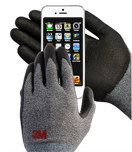 3M Comfort Grip Nitrile Foam Work Gloves, Super Grip 200, General Use / for Safety, Texting, Smartphone -5 Pairs- (Medium)