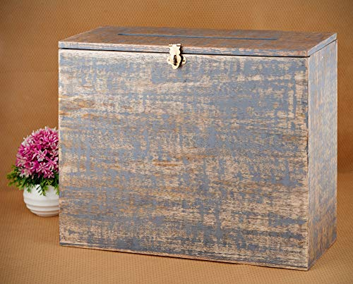 (Wedding Card Box Secured Lockable Card Box with Card Slit - Distressed Finish Gift Card Box Wishing Well Card Box for Weddings, Receptions, Birthdays, Graduations, Baby Showers, 12