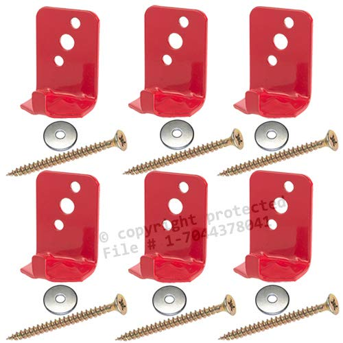 ((Lot of 6) Fire Extinguisher Bracket, Wall Hook, Mount, Hanger, Universal for 5 Lb. Extinguishers NO SCREWS or WASHERS)