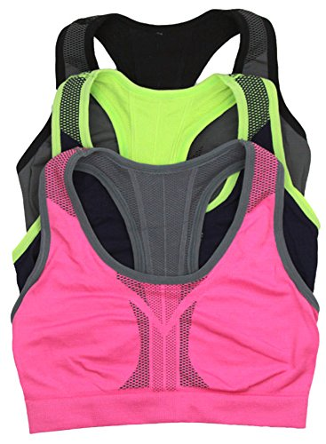 (ToBeInStyle Sports Bras for Women - 3 Pack - Reversible Racerback Double Layered Compression -Medium)