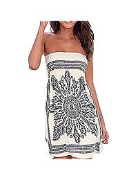 Shinekoo Women Summer Sleeveless Floral Print Bandeau Beach Dress Cover up