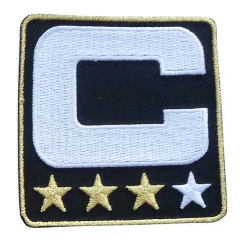 - Black Captain C Patch (3 Gold Stars) Iron On for Jersey Football, Baseball. Soccer, Hockey, Lacrosse, Basketball