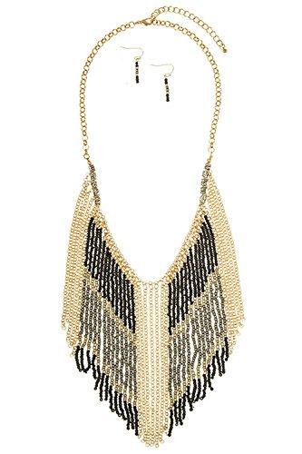 Karmas Canvas Drop Bead Fringe Bib Accent Necklace Set (Black) - Fringe Bib