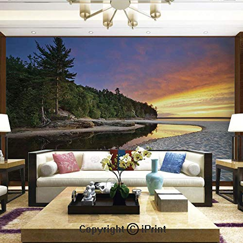 (Lionpapa_mural Removable Wall Mural Ideal to Decorate Bedroom,or Office,Scenic Seaside Sunset Wavy Waters Seafoam Trees Forest Hill Colorful Cloudy Sky,Home Decor - 66x96 inches)