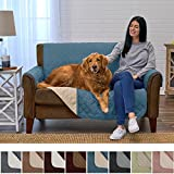 Home Fashion Designs Deluxe Reversible Quilted Furniture Protector and PET Protector. Two Fresh Looks in One. Perfect for Families with Pets and Kids Brand. (Love Seat, Smoke Blue/Flax)
