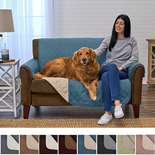 Home Fashion Designs Deluxe Reversible Quilted Furniture Protector and PET PROTECTOR. Two Fresh Looks in One. Perfect for Families with Pets and Kids. By Brand. (Love Seat, Smoke Blue/Flax) (Sofa Furniture Designer)