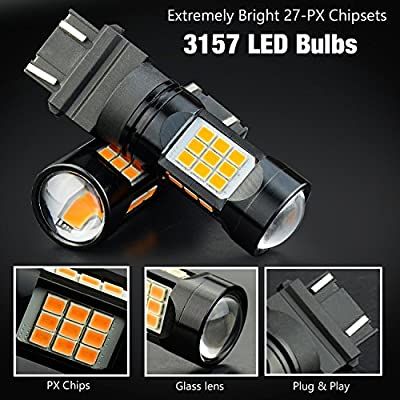 JDM ASTAR Super Bright PX Chips 3056 3156 3057 3157 4057 4157 Amber LED Bulbs with Projector: Automotive