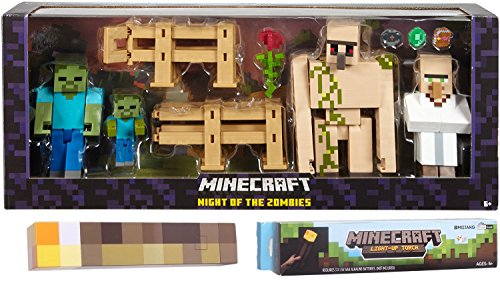 Minecraft Action Figure Survival Pack characters Night of The Zombies Accessories Game Figure Toy & Light up Torch Block Collectible Bundle