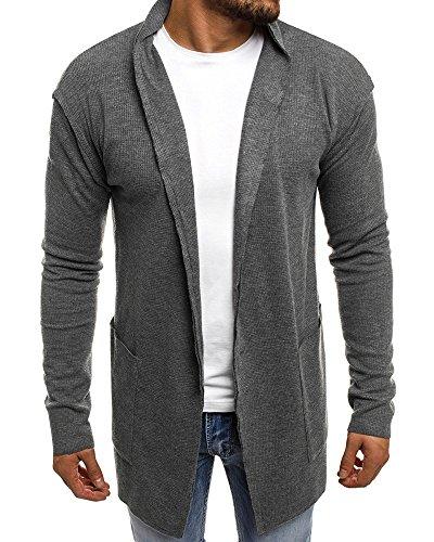 Mens Cardigan Sweater Shawl Collar Open Front Long Sleeve Jacket Vintage Coat