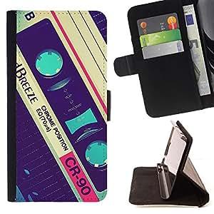 BullDog Case - FOR/Apple Iphone 4 / 4S / - / cassette retro music 90's vintage record /- Monedero de cuero de la PU Llevar cubierta de la caja con el ID Credit Card Slots Flip funda de cuer