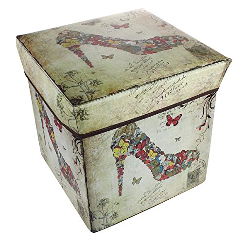 1-Cubic Foot Foldable Storage Ottoman with Retro Printed Nolstagic High Heel Shoe Design, Square (Living Room Media Storage Ottoman)