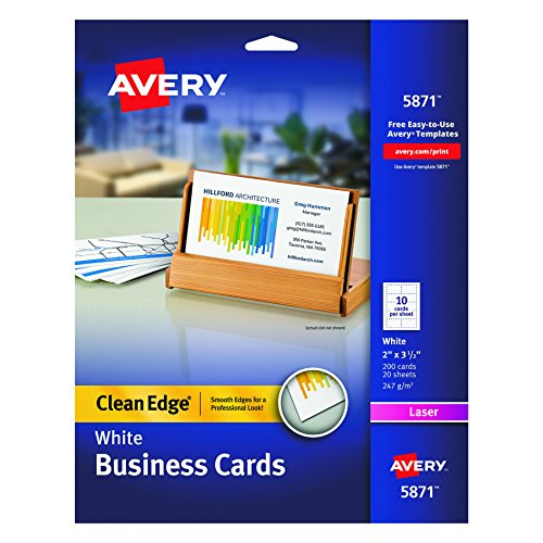 Avery Printable Two-Side Clean-Edge Business Cards for Laser Printers, White, Pack of 200 (Clean Edge Cards)