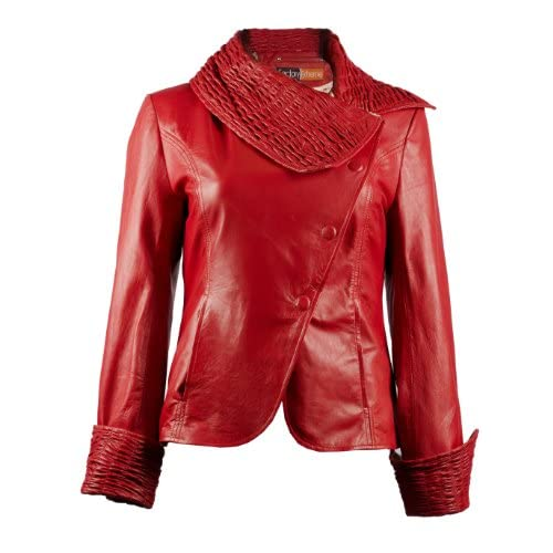 Top FactoryExtreme Roma Ruche Womens Black or Red or Blue Leather Jacket for cheap