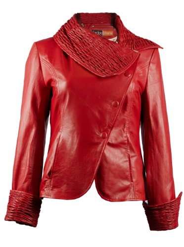 FactoryExtreme Roma Ruche Womens Red Leather Jacket, XXX-Large, Red - Womens Roma Jacket