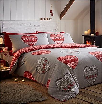 Boden Red Flannelette Duvet Cover Set Kingsize Amazon Co Uk
