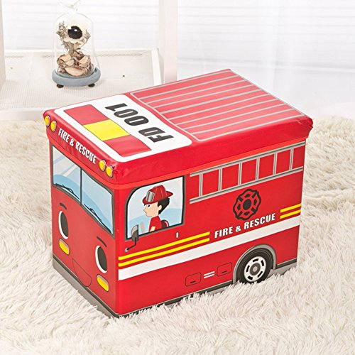 (Cloth Without Textile [Child] Toy Storage Stool Can sit. Cartoon [Storage Box] Storage Box Small Train Storage Stool-Red fire Truck Compartment )