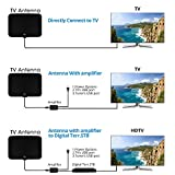 TV Antenna, Vansky 2018 Upgraded Indoor Amplified Digital HDTV Antenna 50 Mile Range Local Broadcast 4K/HD/VHF/UHF Signal Channels for Television w/ Detachable Amplifier and 16.5feet Coax Cable
